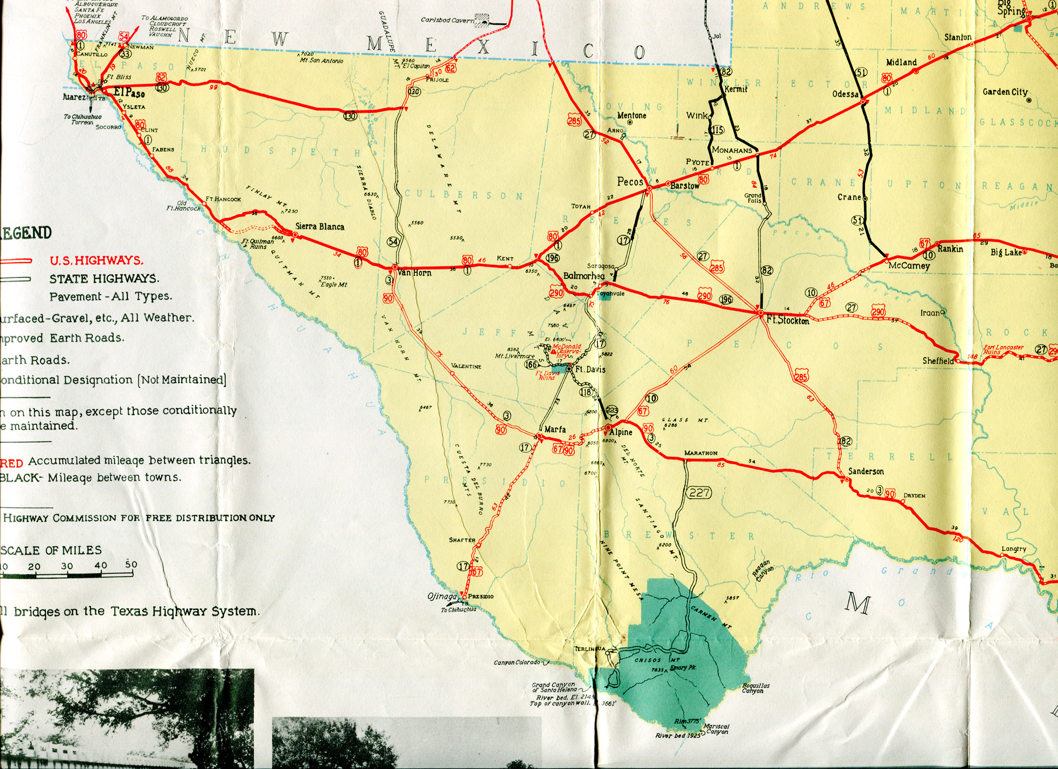 Old Highway Maps Of Texas - Big bend national park map us
