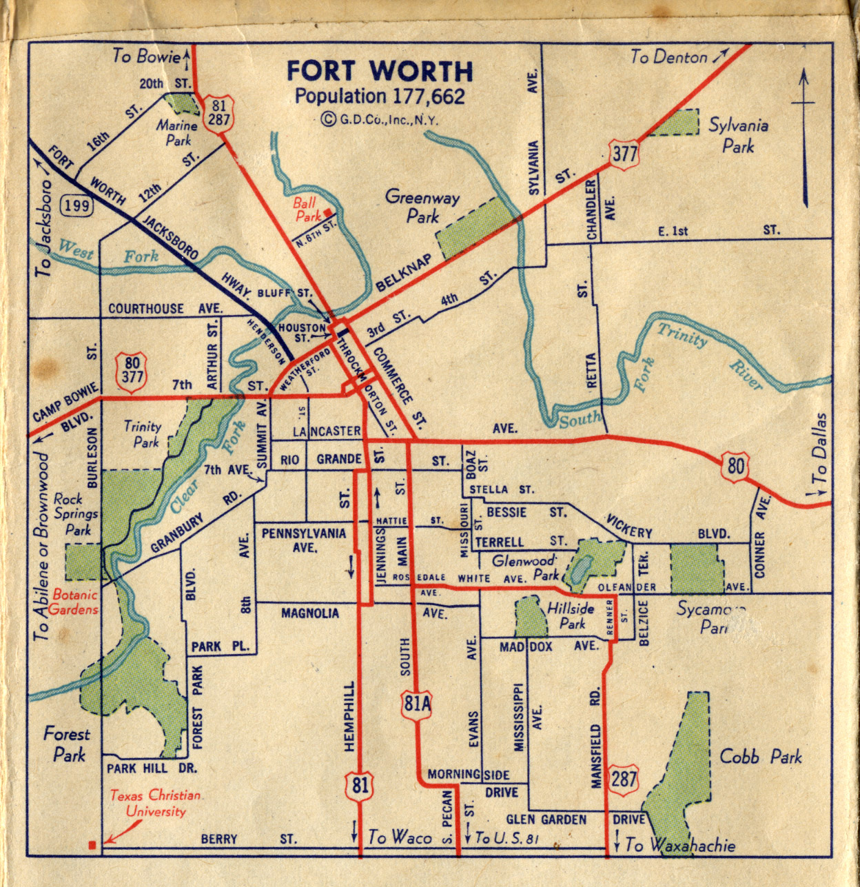 Old Highway Maps Of Texas - Us map fort worth texas